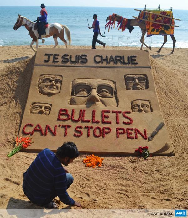 rtiste indien Sudarsan Pattnaik a réalisé un dessin dans le sable, au bord de la mer. L'artiste a reprodui