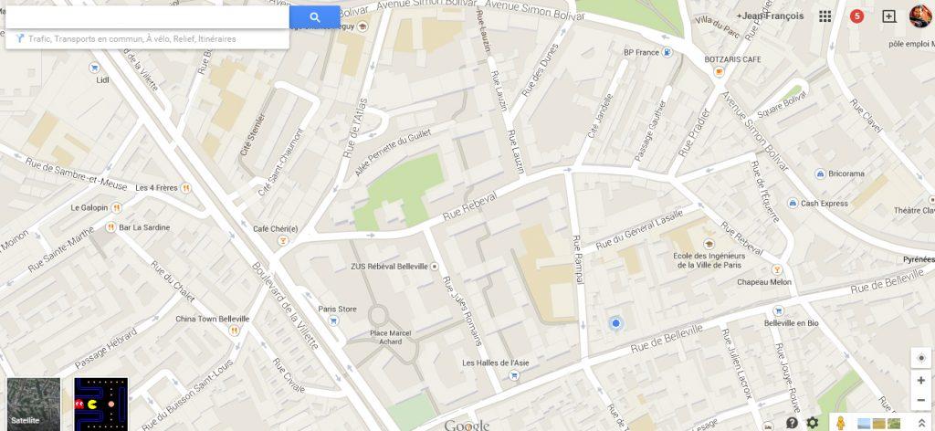 google maps transforme ses cartes en jeu pac man voyage. Black Bedroom Furniture Sets. Home Design Ideas