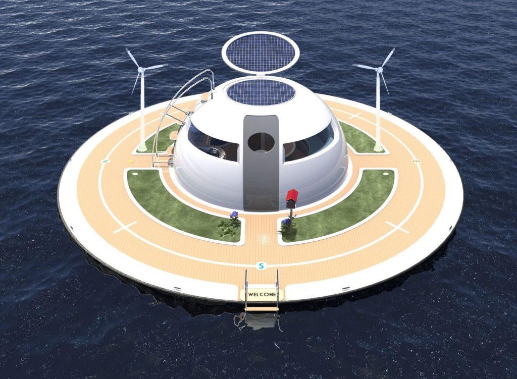 Une maison bateau en forme de soucoupe volante