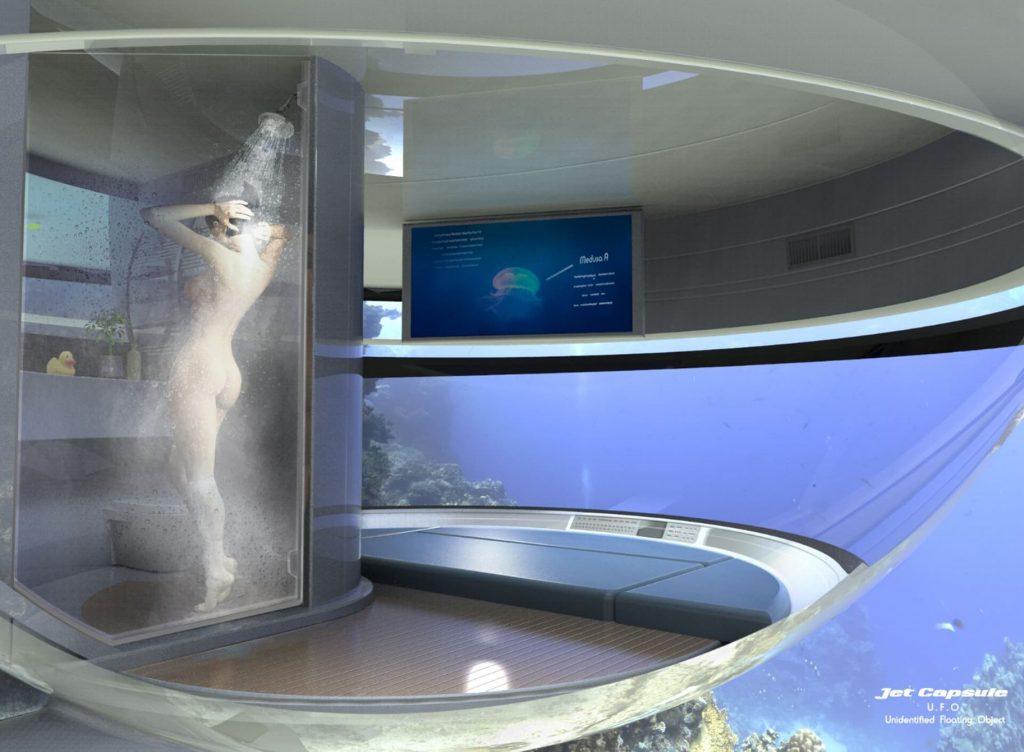 La salle de bain de la maison bateau en forme de soucoupe volante.