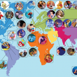 La carte du monde des dessins animés Disney