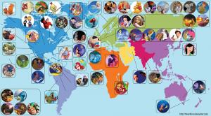 La carte du monde des dessins animés Disney