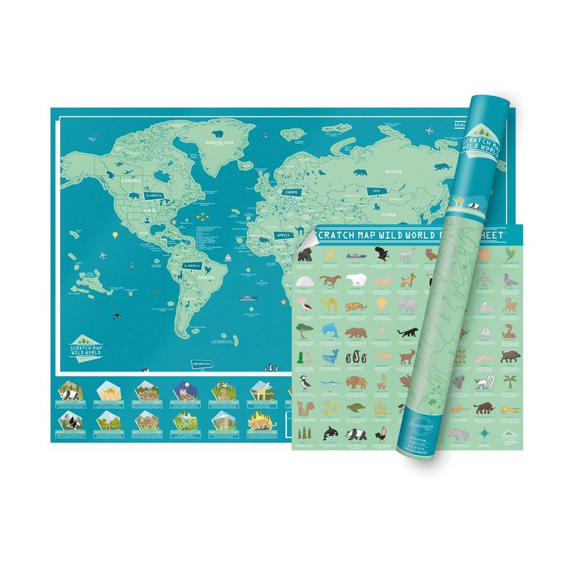 carte monde animal