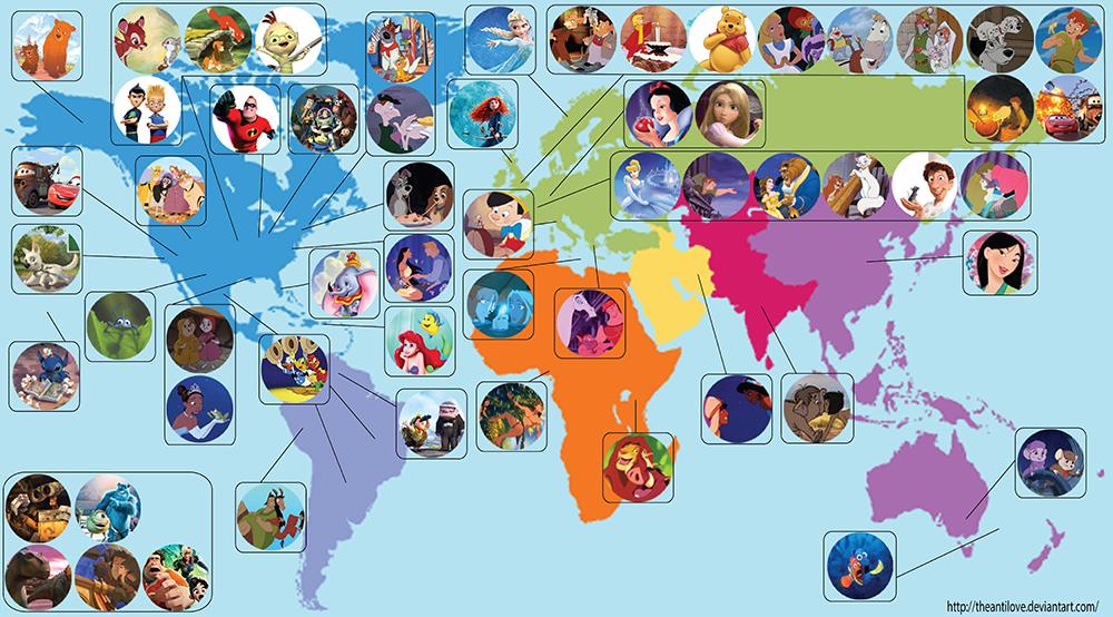 La Carte Du Monde Des Dessins Anims Disney