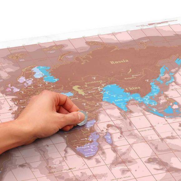 carte du monde à gratter rose