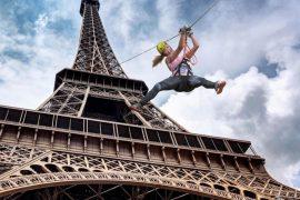 tyrolienne sur la tour Eiffel