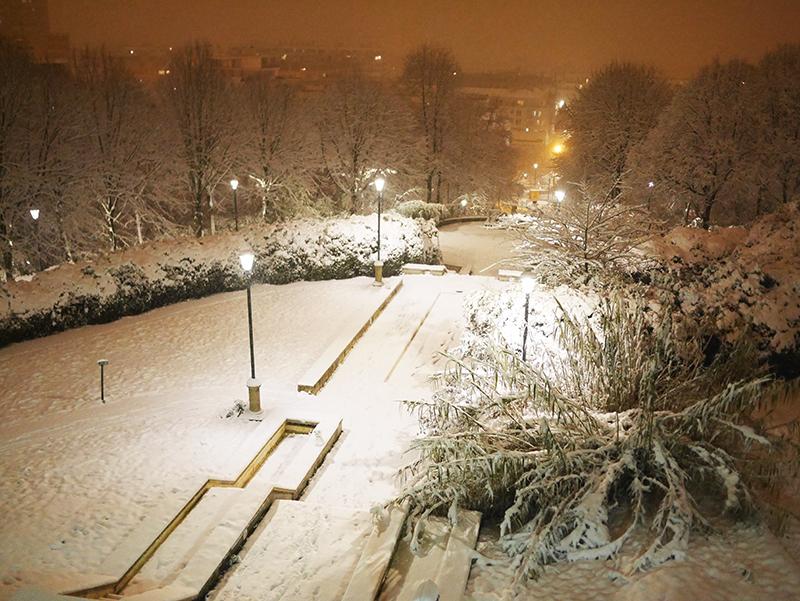 parc de Belleville sous la neige