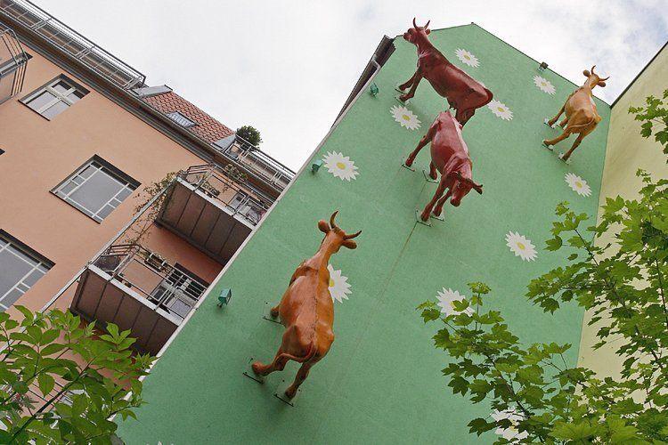 Berlin insolite street art mur vache