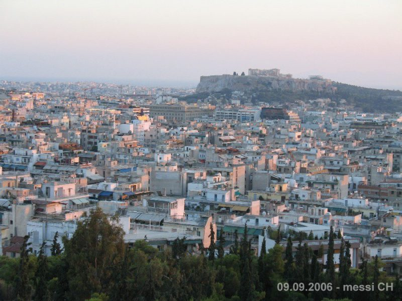 Panorama alternatif d'Athènes depuis la colline Streffi
