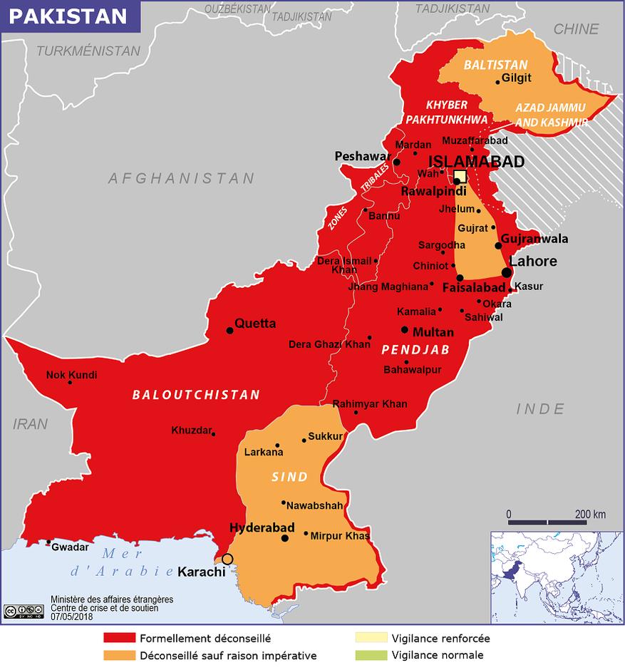 carte danger Pakistan quai d'Orsay