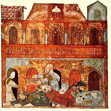 Caravansérail à Wasit Al-Harîrî, Al-Maqâmât (Les Séances). Copié et peint par Yahyâ b. Mahmûd al-Wâsitî, Bagdad, 1237