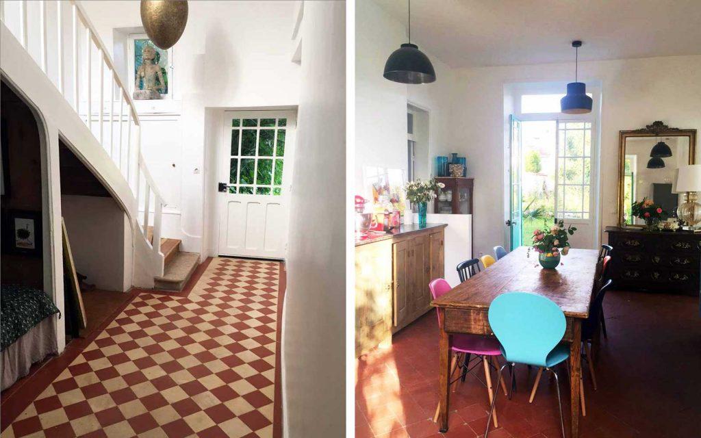 Entrée et cuisine de la maison bleue de Claude Monet