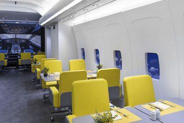 L'intérieur atypique du restaurant A320