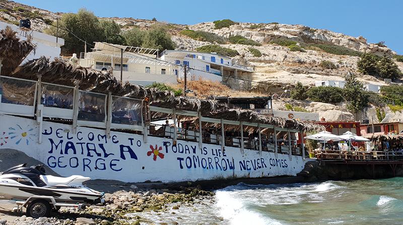 plage de Matala en Crète