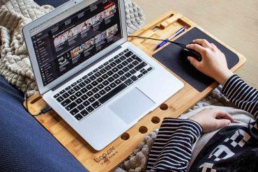 support plateau bois ordinateur portable